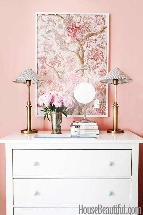 Blush Pink wall with white dresser and pink art