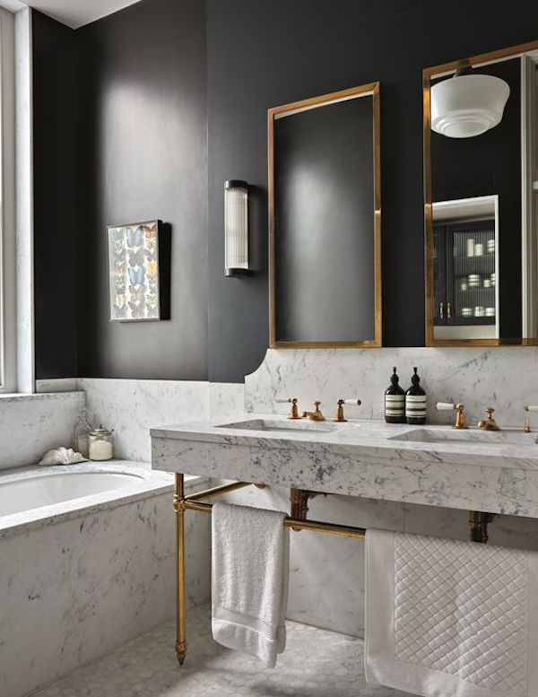 Brass Finish and Black Wall in a Marble Bathroom. 18 Gorgeous Marble Bathrooms with Brass   Gold Fixtures