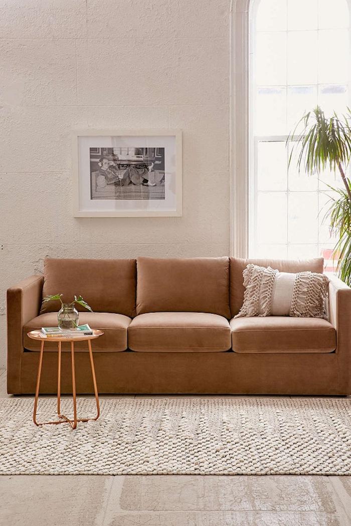 Camel Velvet Couch