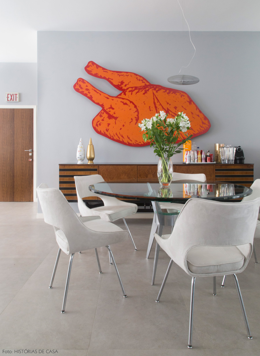 Chicken Shaped Canvas Artwork in Dining Room