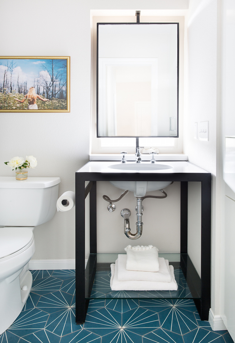 Claire Zinnecker Bathroom with turquoise floor tiling
