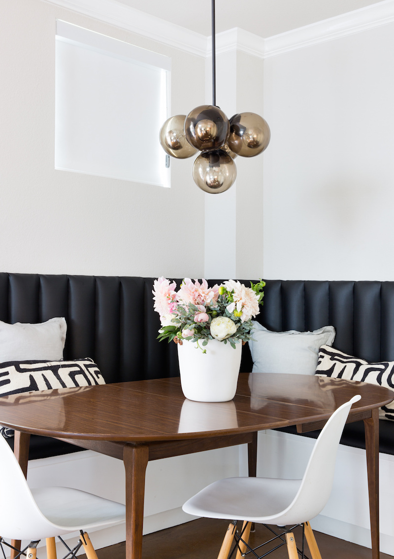 Claire Zinnecker Dining room with chestnut brown table