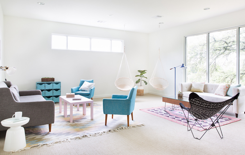 Claire Zinnecker Hanging chairs and pastel furniture living room
