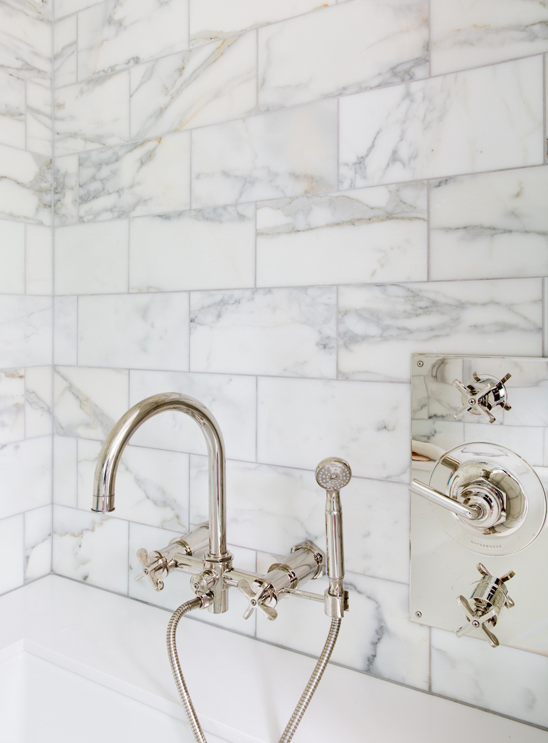 Claire Zinnecker Marble bathroom with silver finishings