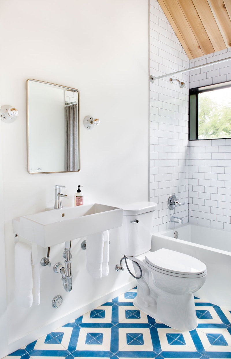 Claire Zinnecker White Bathroom with Blue Tiling