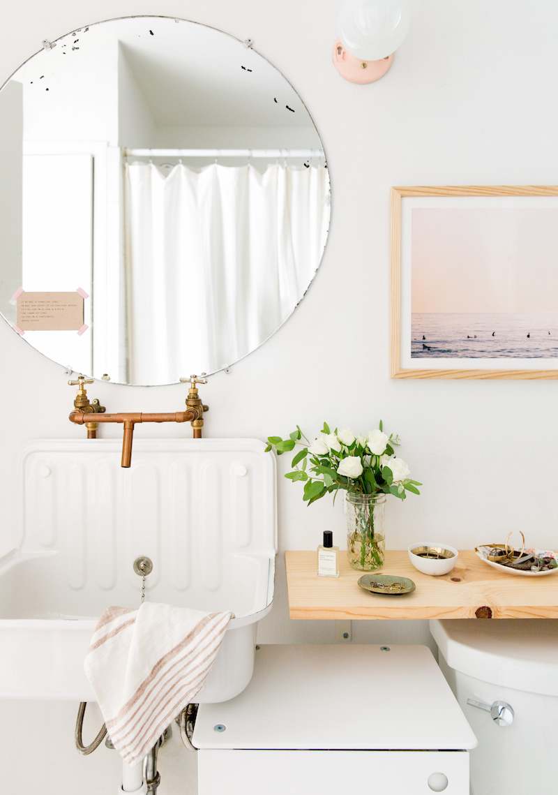 Claire Zinnecker White bathroom with Industrial Sink