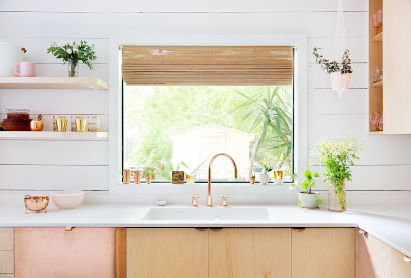 Claire Zinnecker Wooden Kitchen with Gold Faucet