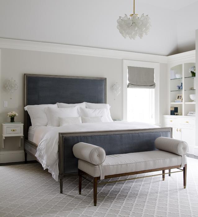 Dark Blue Velvet Headboard in Neutral Bedroom