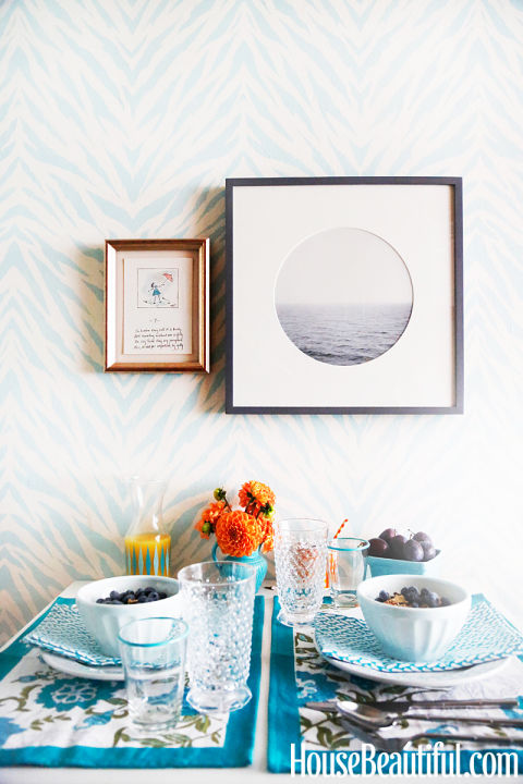 Dining room with blue zebra wallpaper