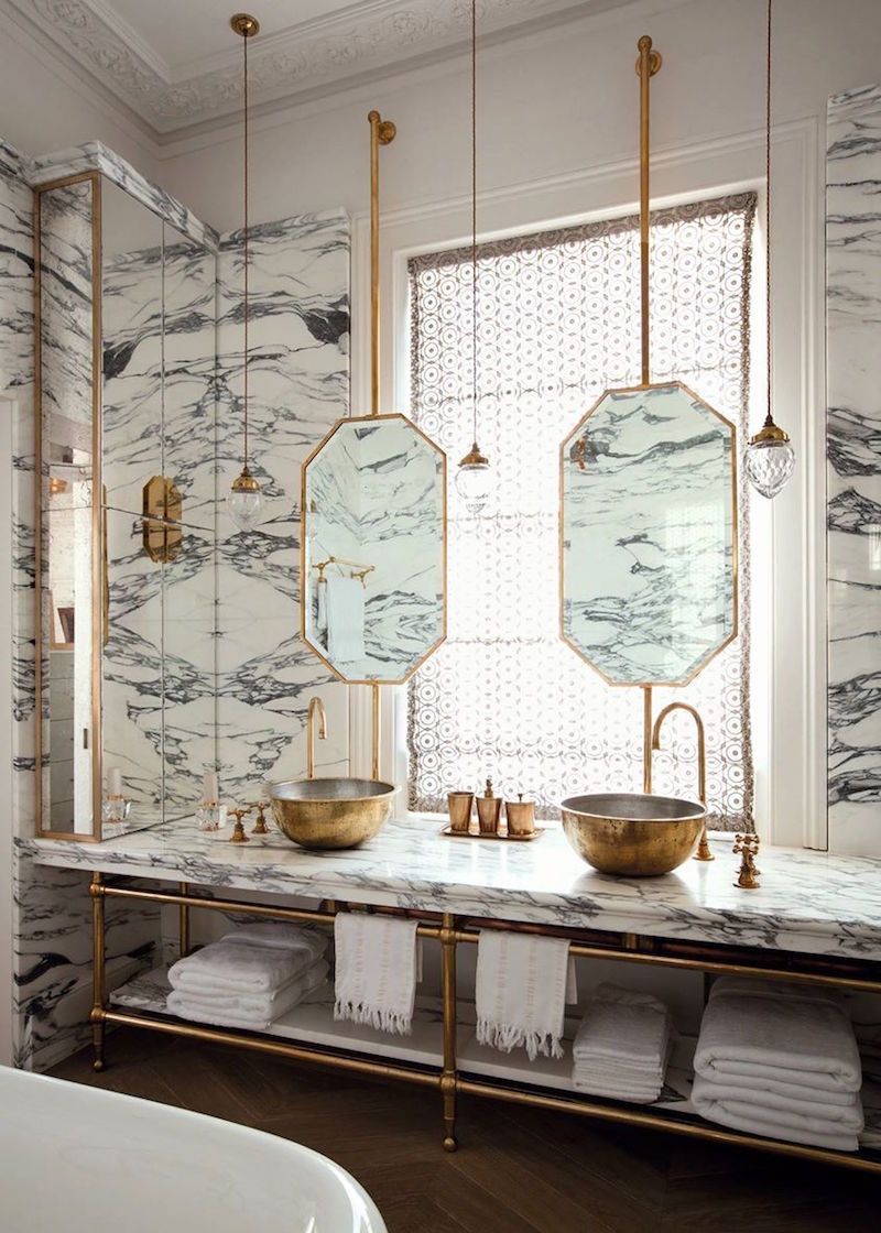 Double Marble Bathroom with Gold Brass Fixtures