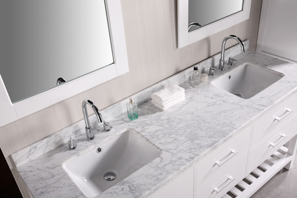 Double Sink Vanity Marble Top with Silver Fixtures