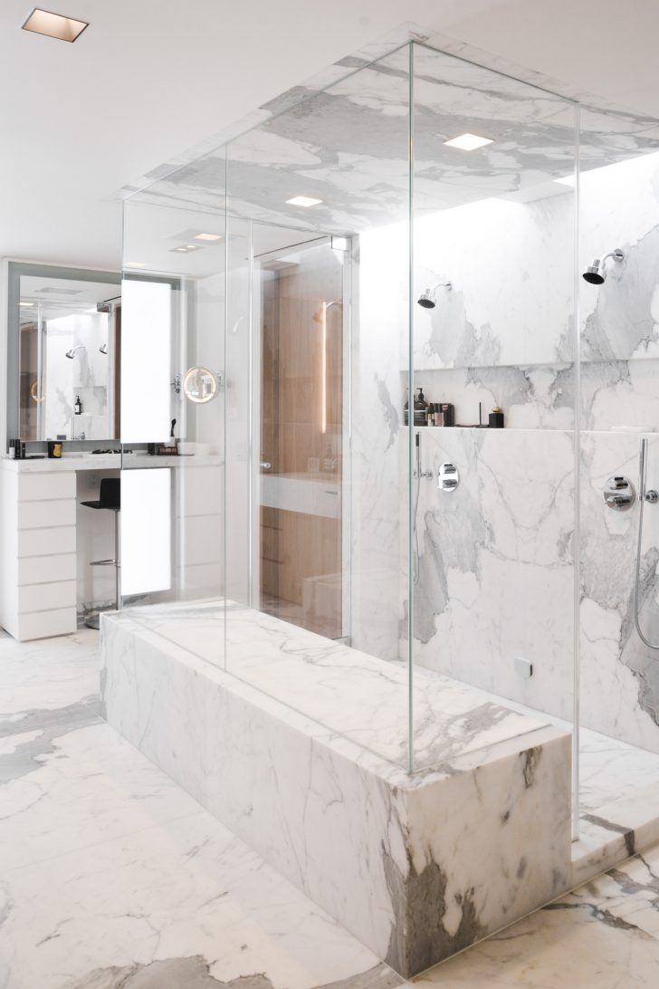 White Marble Shower - Image Cabinets and Shower Mandra-Tavern.Com