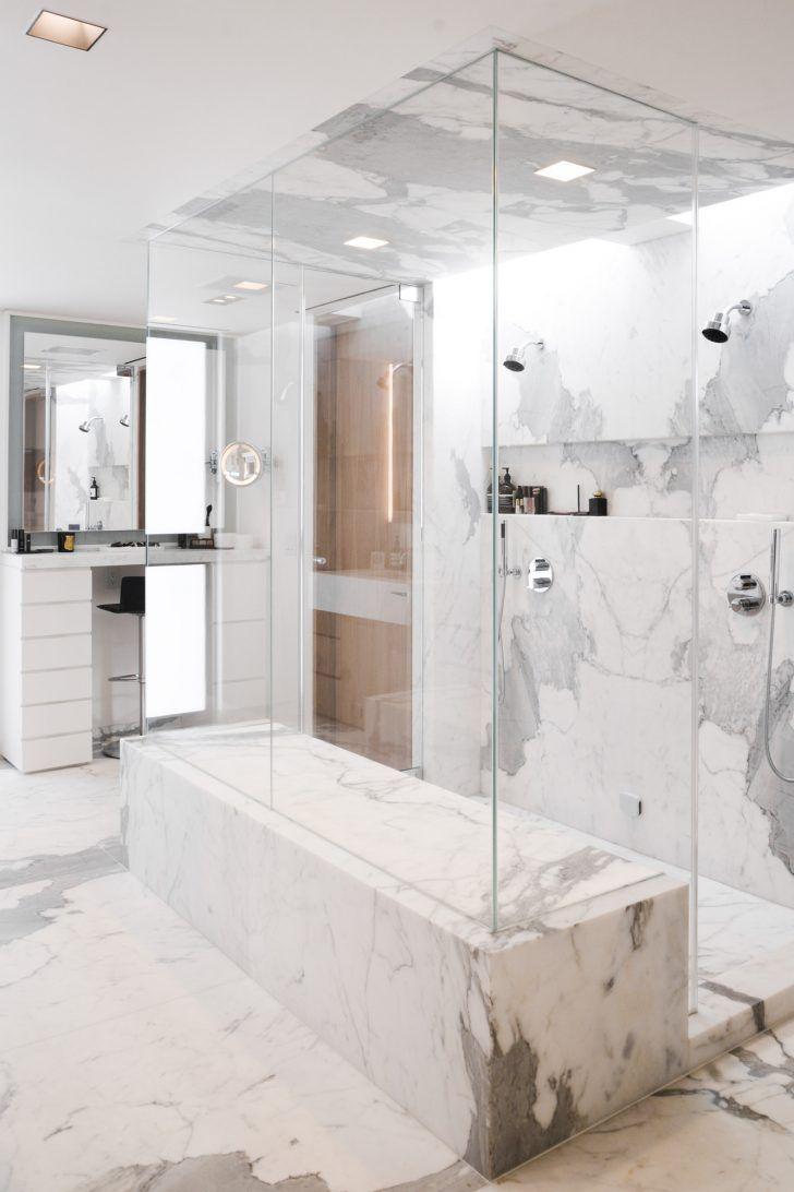 Double Walk-in Marble Shower