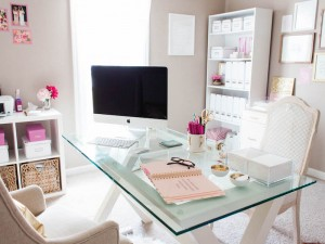 A Dreamy Pink & Gold Office