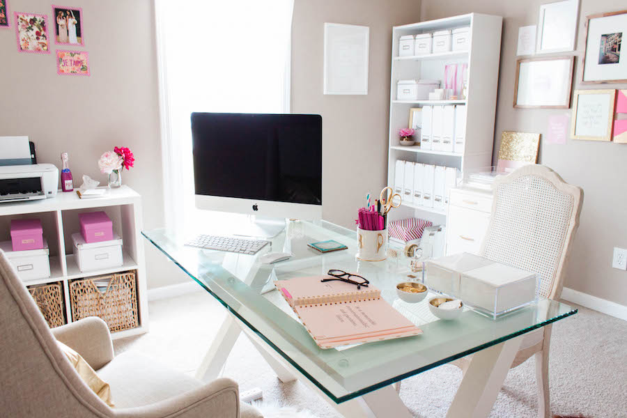 Computer Desk in a Dreamy Pink Gold Office