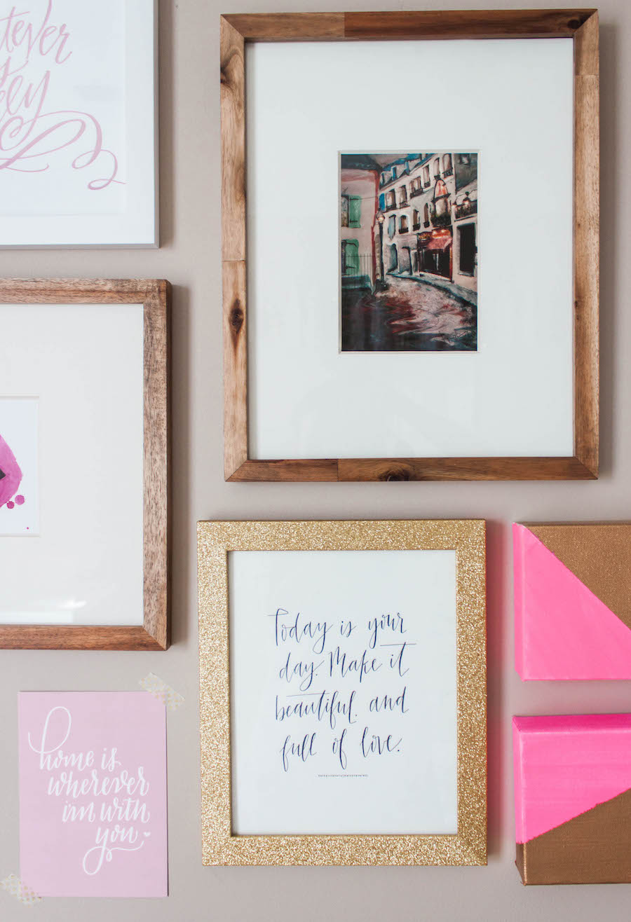 Gallery Wall in a Dreamy Pink Gold Office