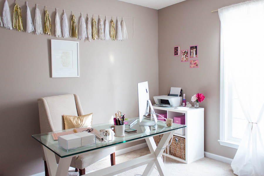 Desk and Window in a Dreamy Pink Gold Office
