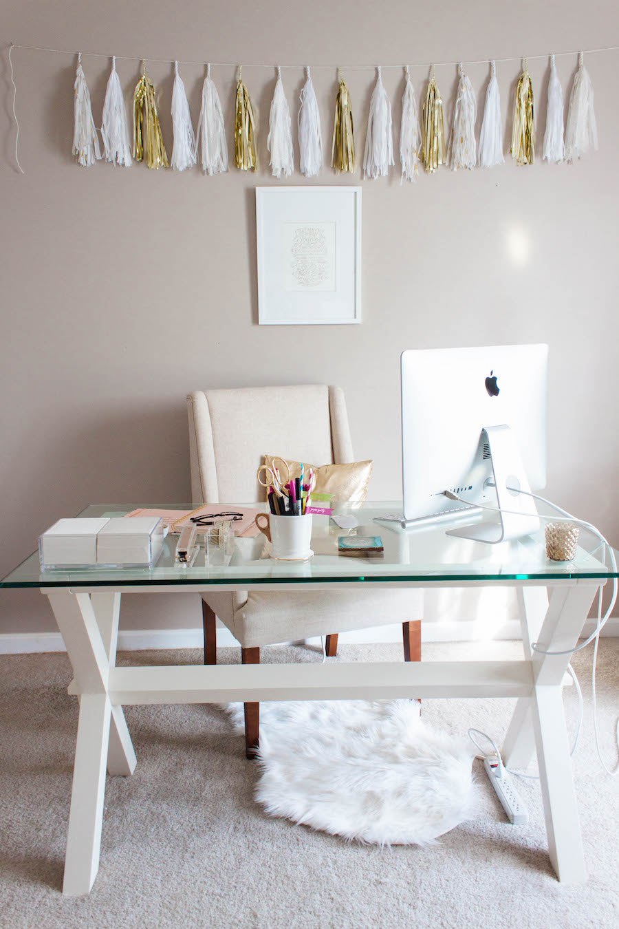 Desk in a Dreamy Pink Gold Office