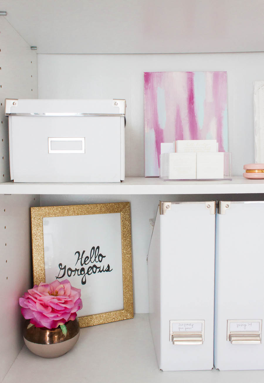 Shelving and Files in a Dreamy Pink Gold Office