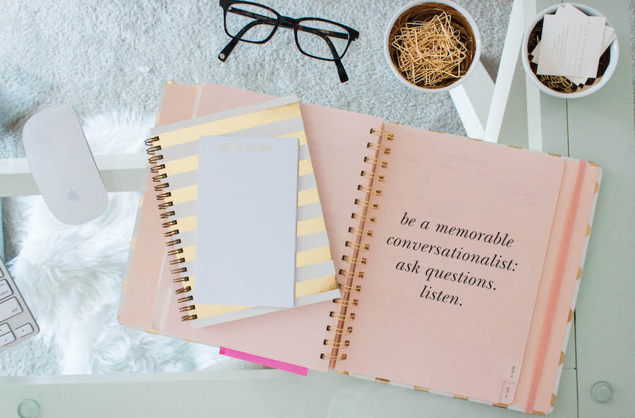 Notebook and Desktop in a Dreamy Pink Gold Office
