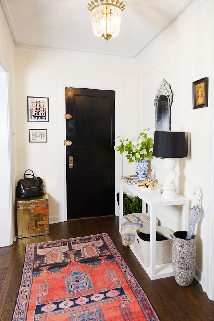 Entryway with coral pattern rug and Black door