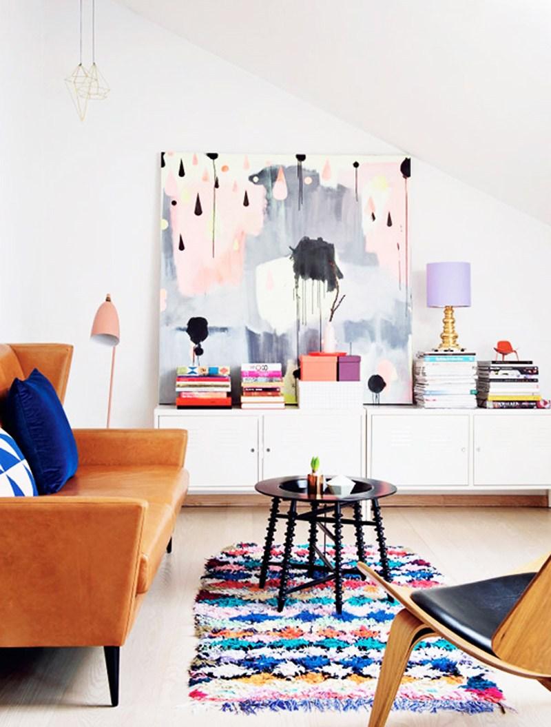 Faded Purple Artwork in Living Room