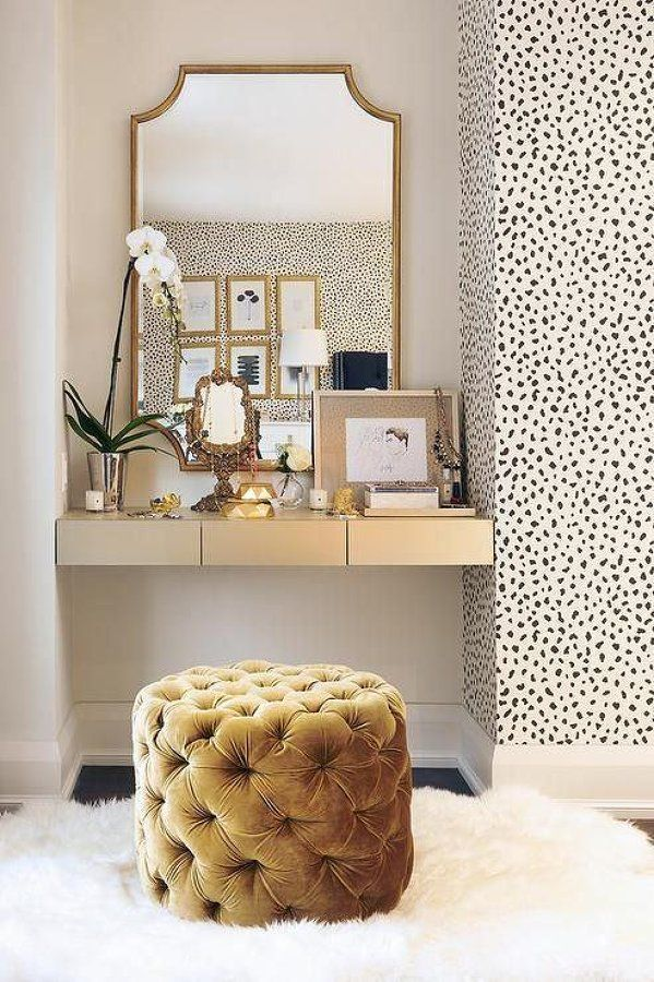 Golden Yellow Tufted Stool in front of Gold Vanity