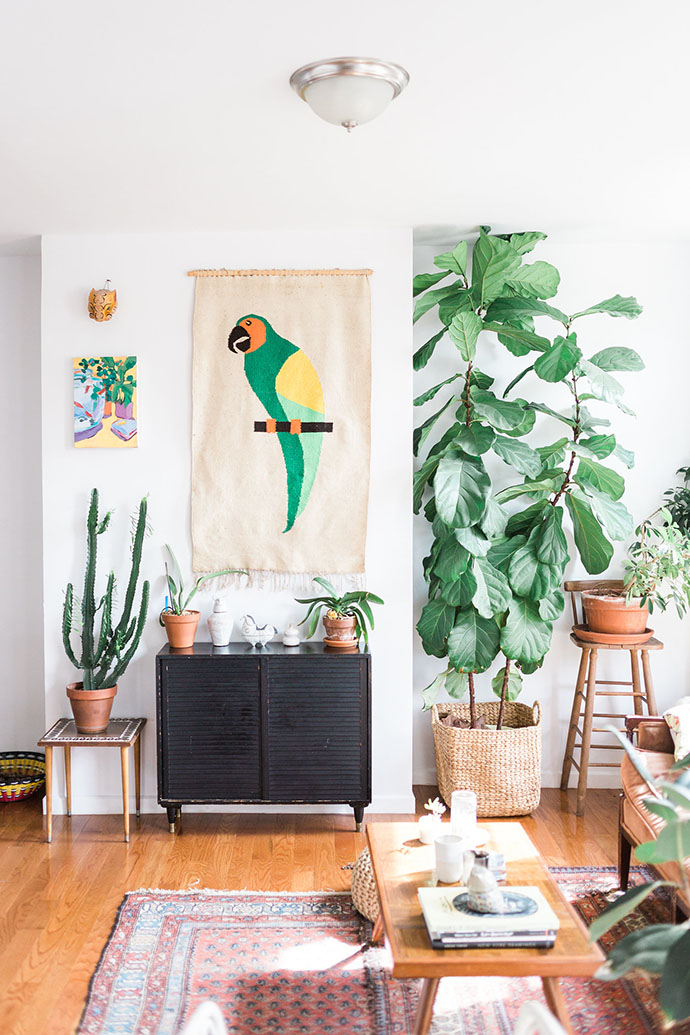 Green Parrot Artwork with Cactus and Plants