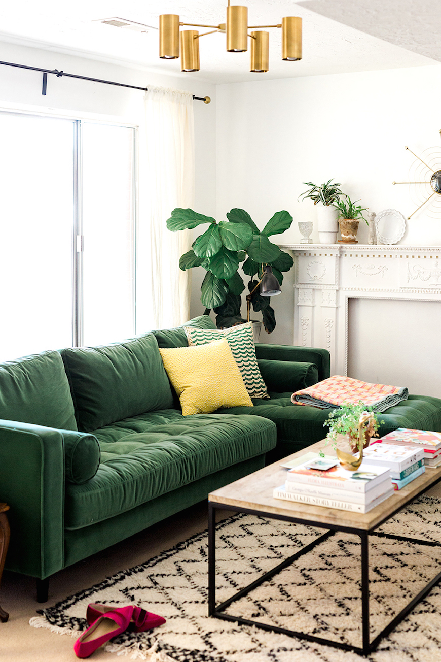 Green Sofa with Natural Wood Coffee Table