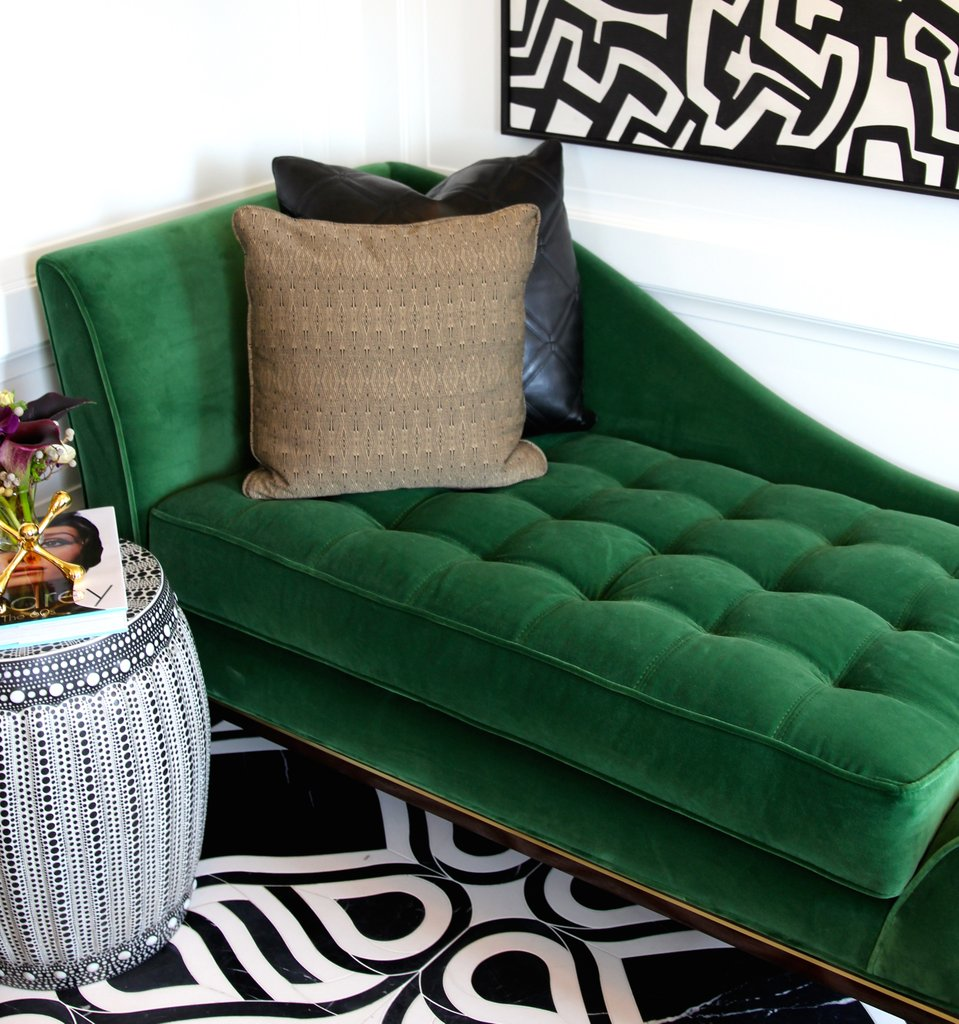 Green Velvet Chaise Sofa
