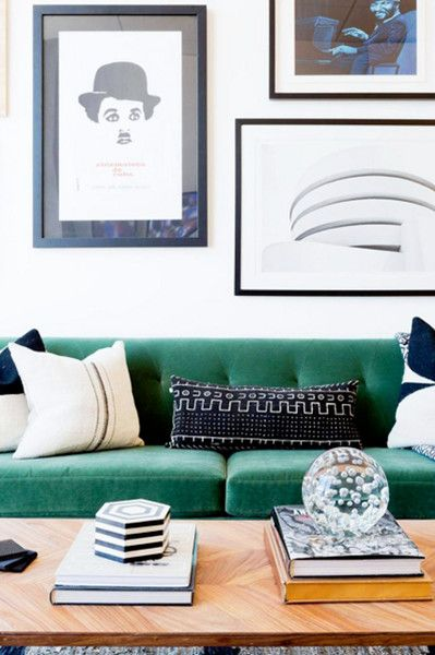 Green Velvet Sofa with Black Gallery Wall