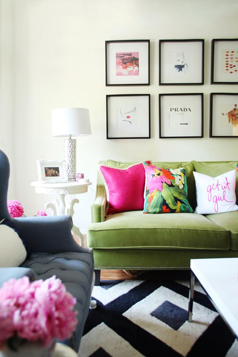 Green Velvet Sofa with Black and White Rug