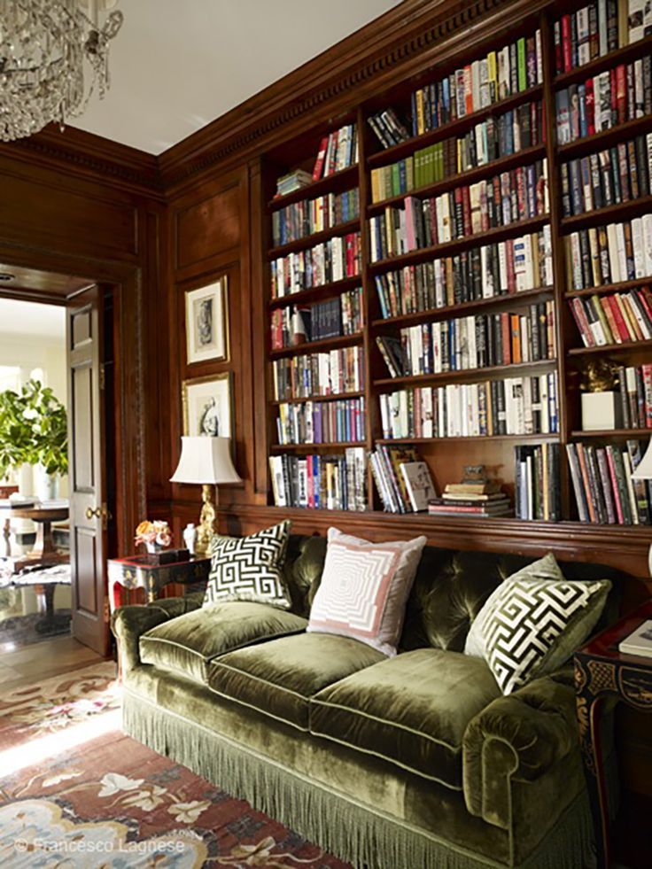 Green Velvet Sofa with Fringe in Library