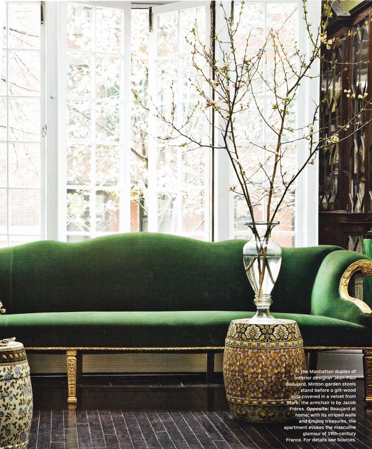 Green Velvet Sofa with Gold Base and Branches
