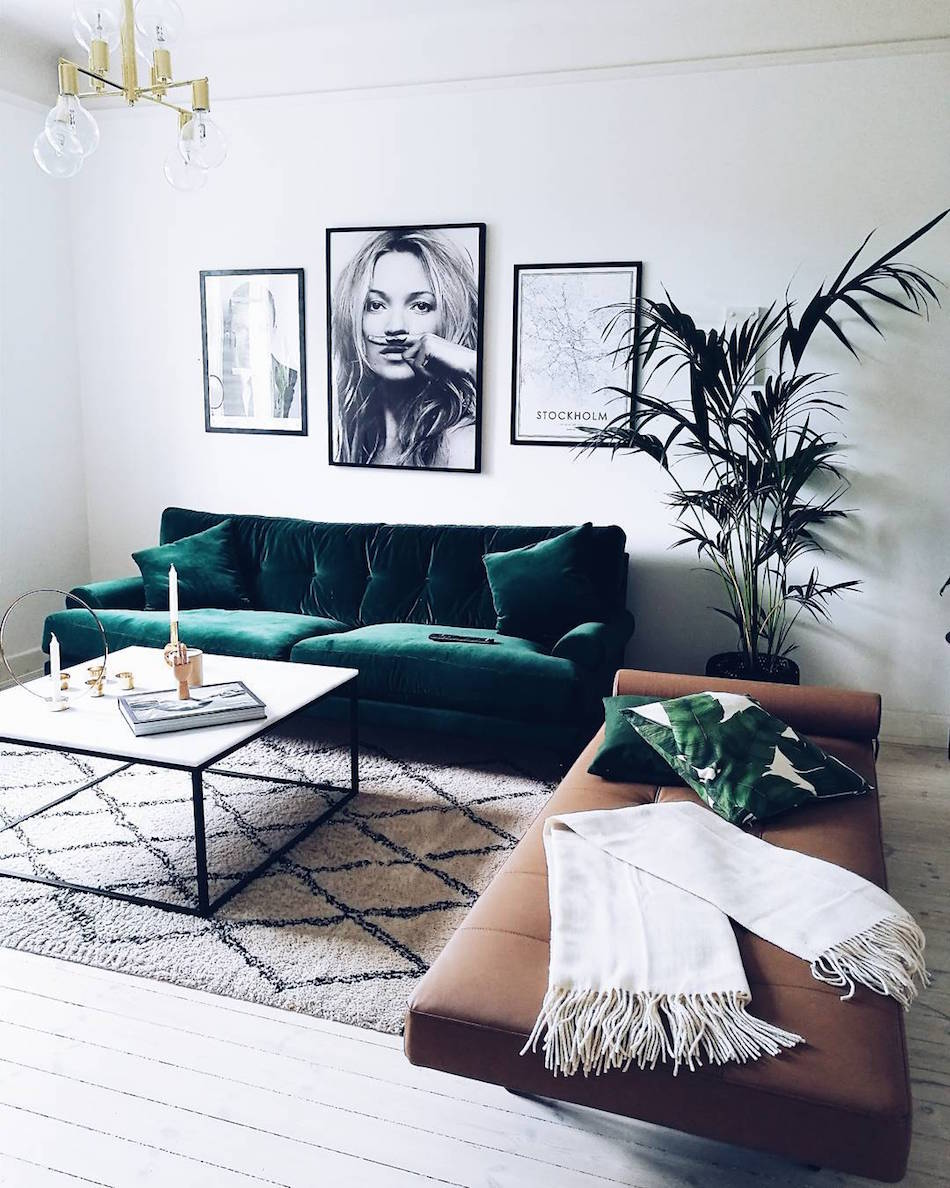 Lush Green Velvet Sofa with Kate Moss Photo