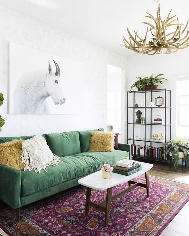 Green Velvet Sofa with Purple Oriental Rug