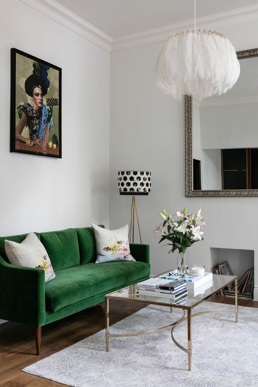 Green Velvet Sofa with White Feather Light