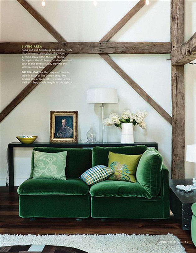 Green Velvet Sofas with Wooden Walls