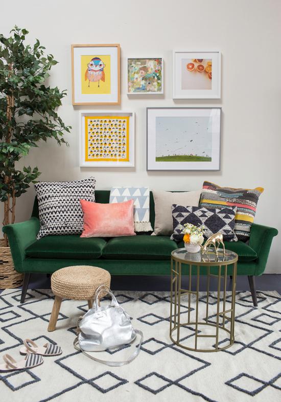Green Velvet sofa with multi-color lighting