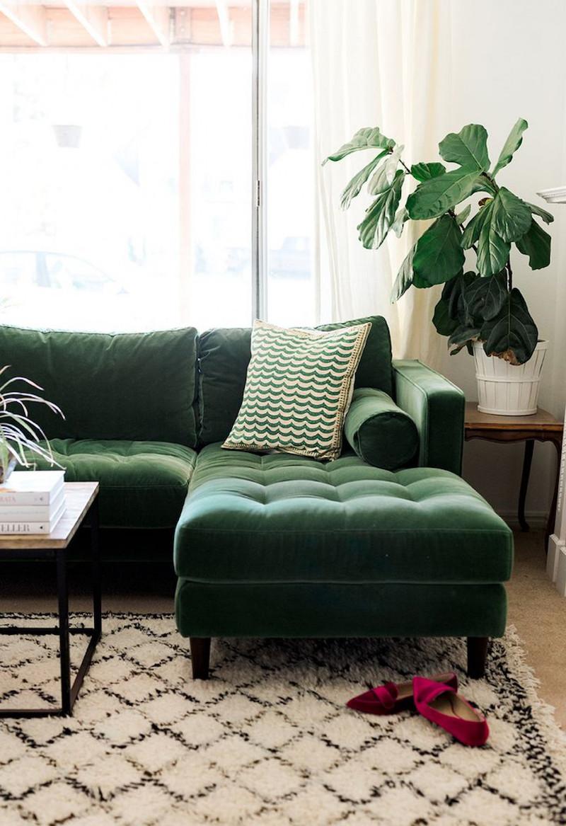 Green Velvet Tufted Sofa