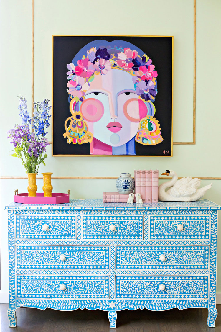Hayley Mitchell Face Artwork on Blue Dresser