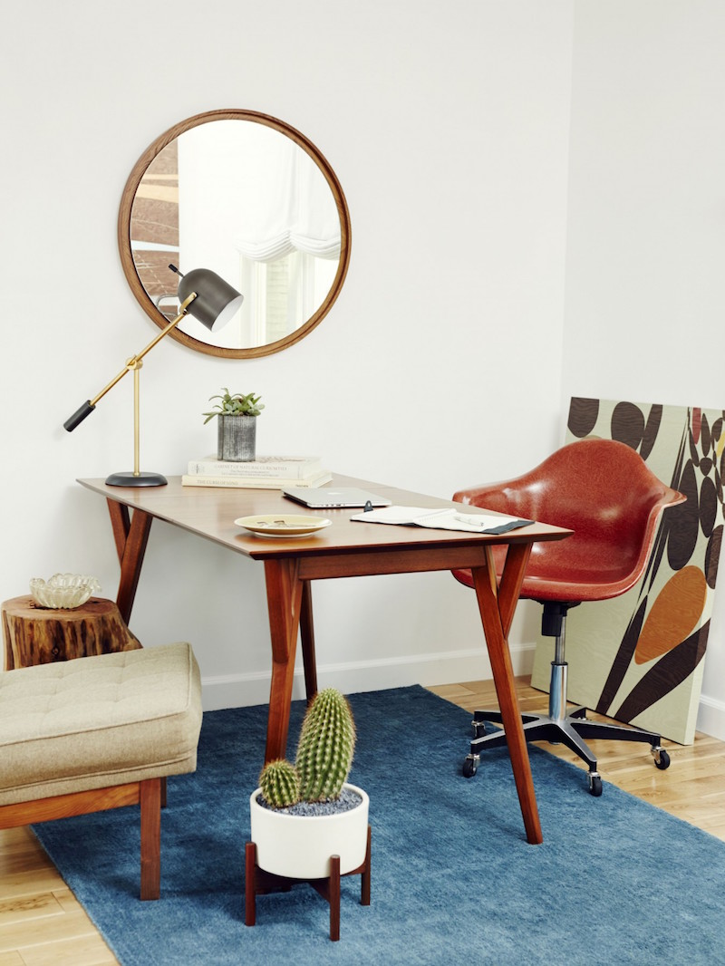 Jacey Duprie's Dark Brown Office with Blue Rug Damsel in Dior