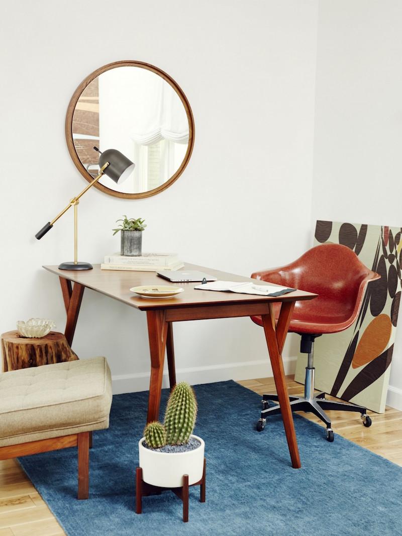 Jacey Duprie's Dark Brown Office with Blue Rug Damsel in Dior