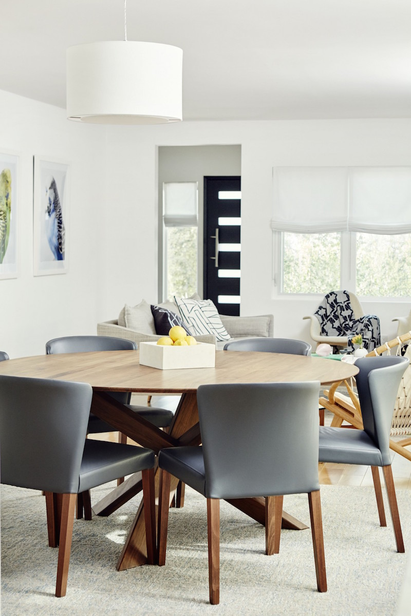 Jacey Duprie's Dining Room with Grey Minimal Chairs via Damsel in Dior