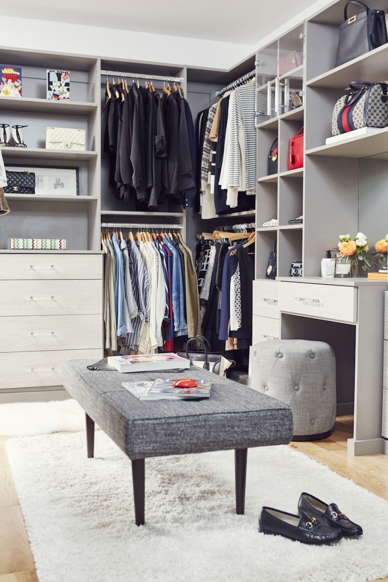 Jacey Duprie's Grey Closet with White Rug Damsel in Dior