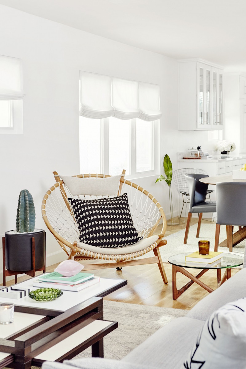 Jacey Duprie's Living Room Wicker Chair via Damsel in Dior
