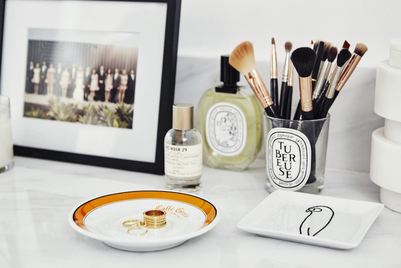 Jacey Duprie's Make-up Brushes and Vanity Top via Damsel in Dior