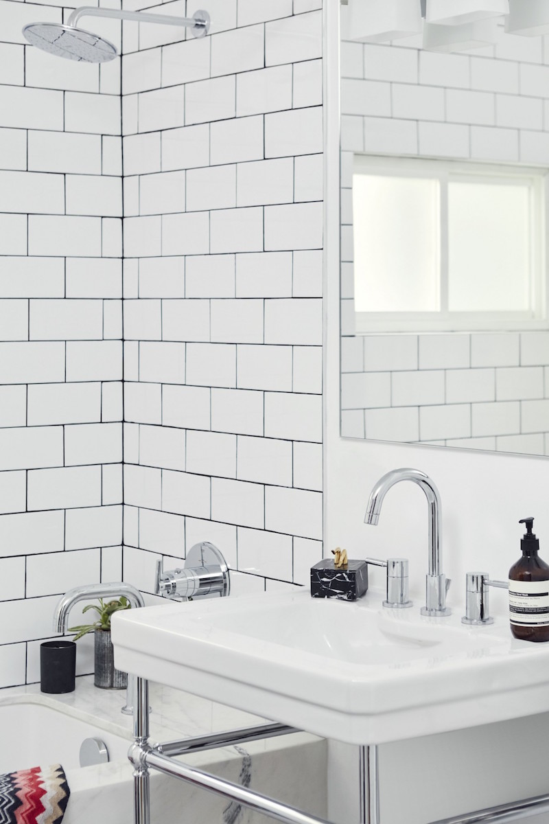 Jacey Duprie's Subway Tile Bathroom via Damsel in Dior