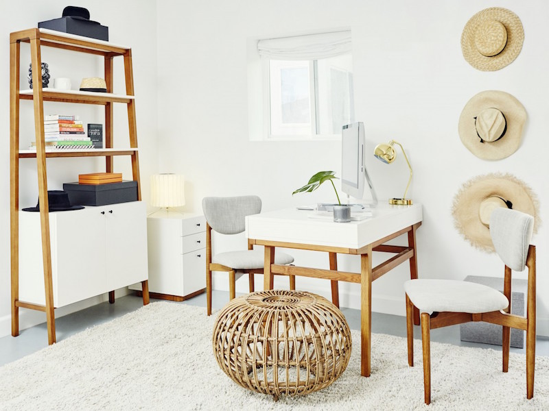 Jacey Duprie's White Grey and Wood Office Space via Damsel in Dior