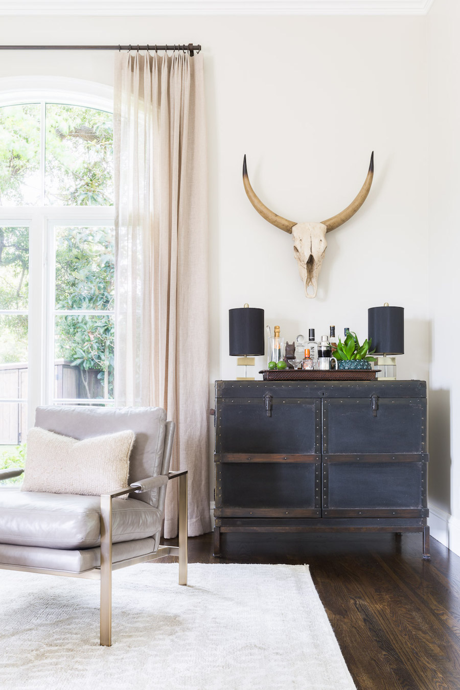 Longhorn Skull in a Living Room by Amanda Barnes